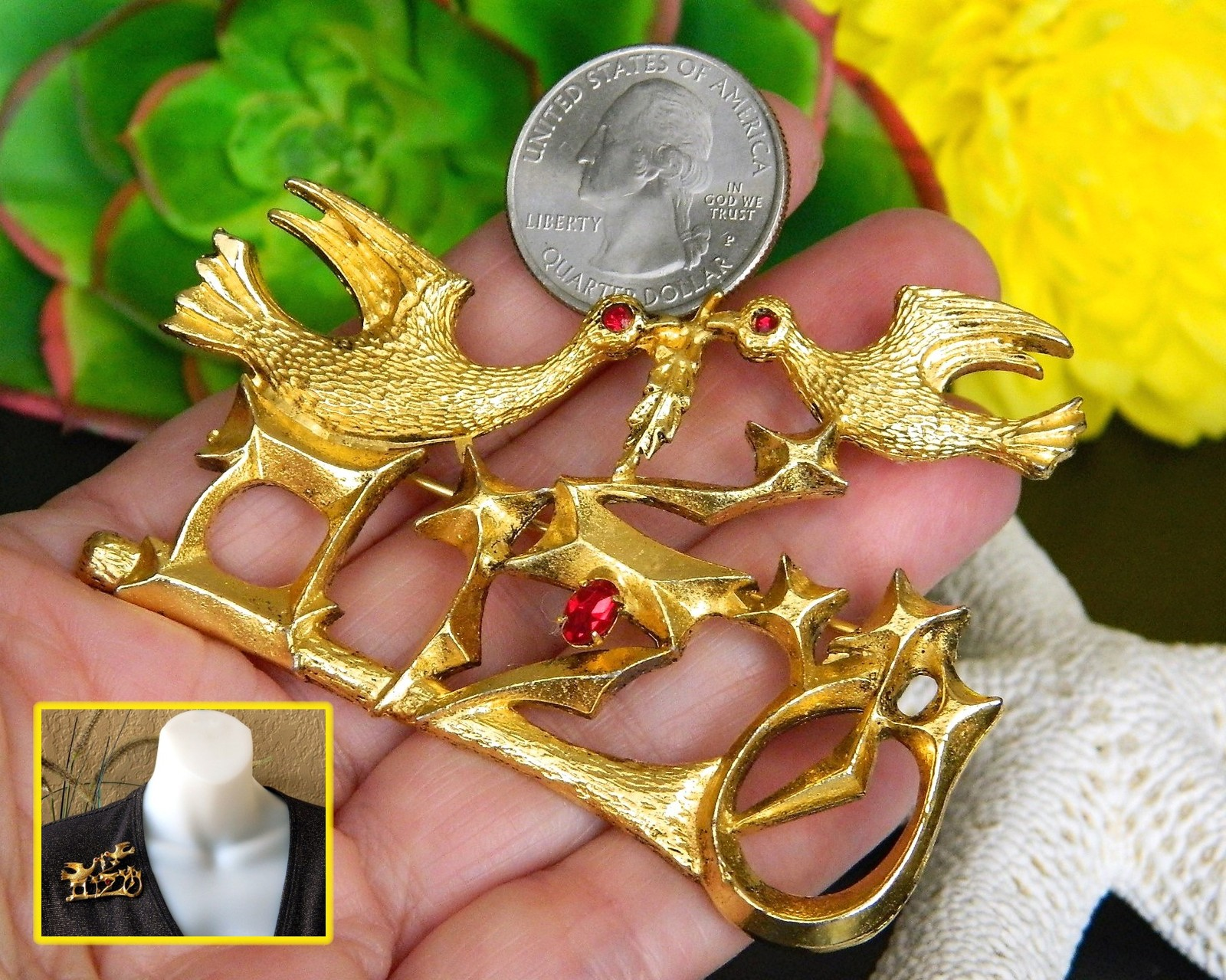 Judaica Doves Olive Branch Brooch Pin Shalom Peace Chaim Gross Israel