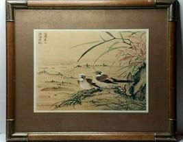 Vintage JAPANESE  SPARROWS ASIAN MID CENTURY ~ Print ~ Woodblock ~ Water... - $66.95