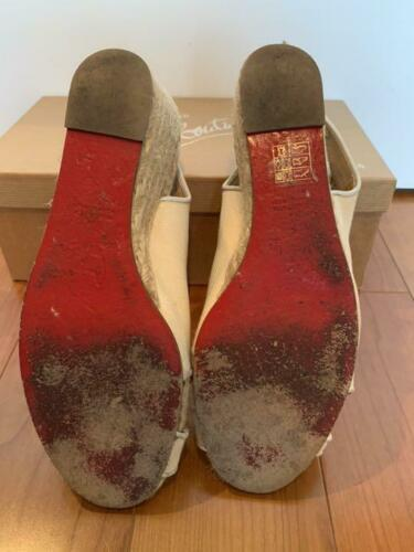 Christian Louboutin Espadrille US 7 Wedgesole Open Toe Sandals Fabric Rare USED image 5