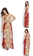 NEW FOREVER 21 RAYON MULTI-COLOR RED PAISLEY A-LINE MAXI SLEEVELESS DRESS L - $29.50