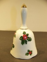 Lefton Holly Leaves Bell Hand Painted China #7944 Japan Christmas Decoration - $17.99