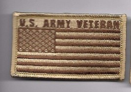 ARMY VETERAN DESERT FLAG 2 X 3  EMBROIDERED PATCH WITH HOOK LOOP - $23.74