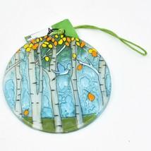 Bluebird and Autumn Aspen Fused Art Glass Ornament Sun Catcher Handmade Ecuador image 1