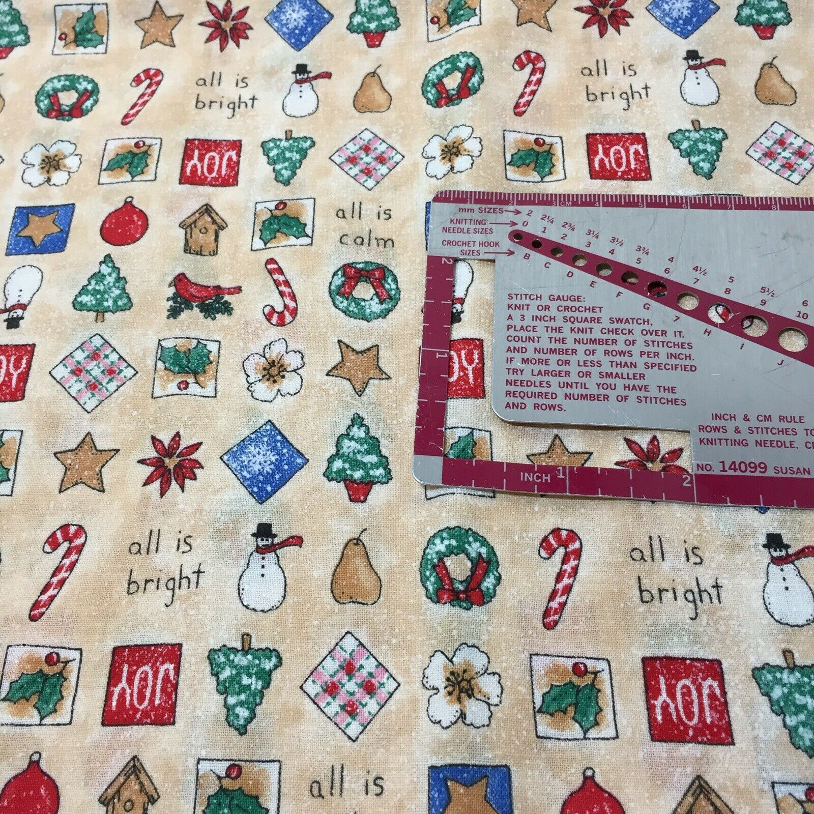 """1 Yards Christmas Fabric 44"""" wide 100% Cotton All is Calm All is Bright"""