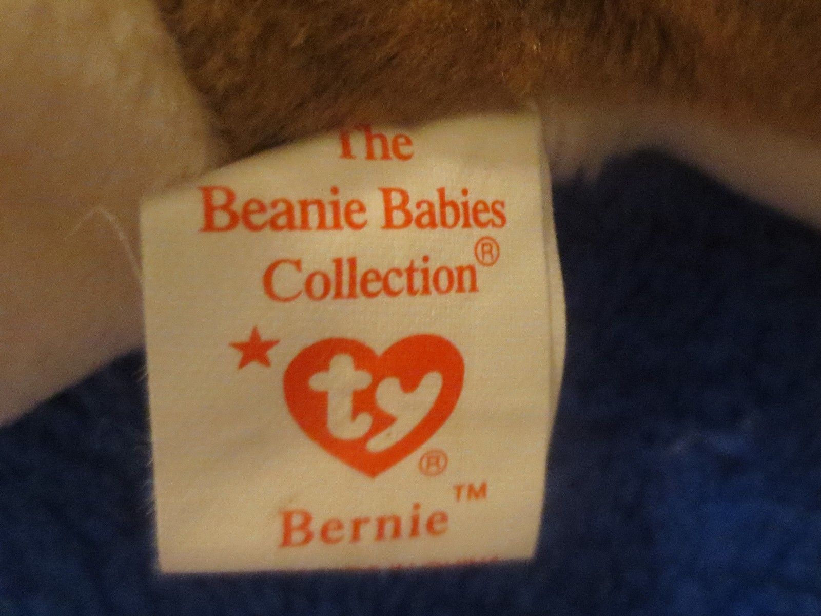 Ty Beanie Baby Bernie 5th Generation PVC Fill