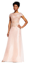 Adrianna Papell Rose Gold Short Sleeve Gown With Beaded Bodice   10   $379 - $188.10