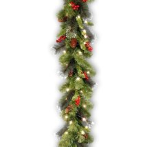 National Tree 9 Foot by 10 Inch Crestwood Spruce Garland with Silver Bristle, Co image 9