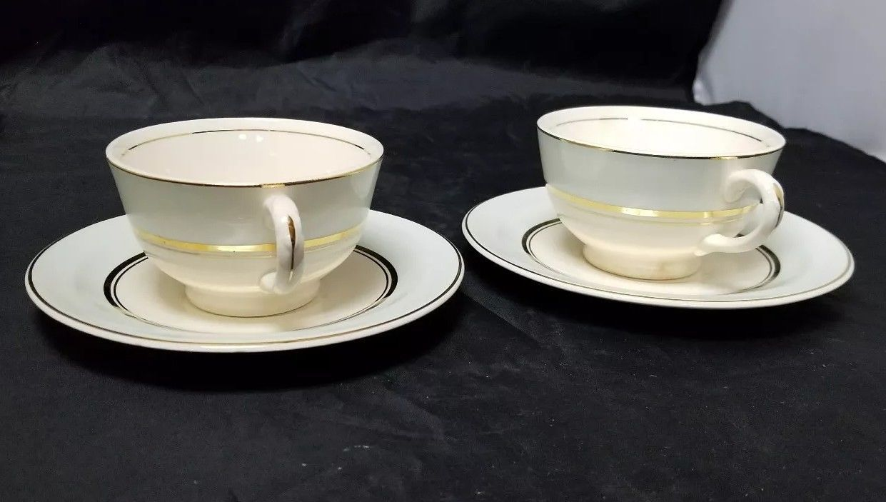 The French Saxon China Co Tea Cup & Saucer Set of 2, 22kt Gold, Pottery Made USA image 10