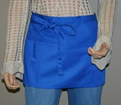 Women's Waist Apron, Urban Apron with Three Pockets, Royal Blue - $12.99