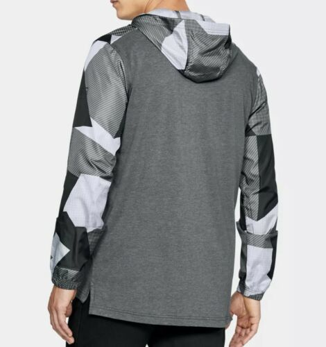 UNDER ARMOUR HOODIE PULL OVER WINDBREAKER TOP Black & Gray Adult Extra Large!! image 6