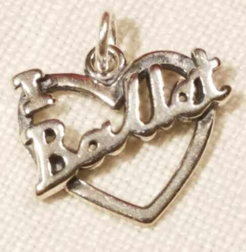 Sterling Silver 14x16mm I Love Ballet Cut out Heart Dance Charm