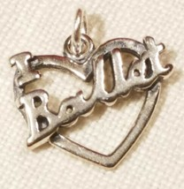 Sterling Silver 14x16mm I Love Ballet Cut out Heart Dance Charm image 1