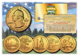 2013 America The Beautiful 24K GOLD PLATED Quarters Parks 5-Coin Set w/C... - $12.82