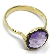 SOLID 18K YELLOW GOLD RING, CENTRAL CUSHION ROUND PURPLE AMETHYST, DIAMETER 10mm image 2