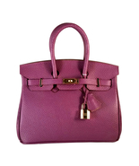 25 cm St. Germain Genuine Leather Top Handle Padlock Handbag Purple Desi... - $300.00