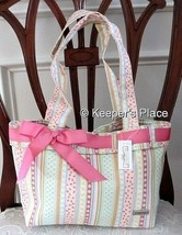 Longaberger Spring Parade Ribbon Stripe Double Handle Bag Tote Gift Bag ... - $19.00
