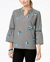 Charter Club WOMEN'S Petite Cotton Embroidered Gingham Tunic, PXL - $14.75