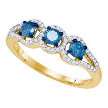 10k Yellow Gold Round Blue Diamond 3-stone Bridal Wedding Engagement Rin... - £401.33 GBP
