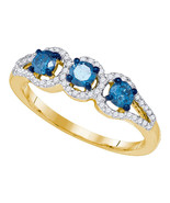 10k Yellow Gold Round Blue Diamond 3-stone Bridal Wedding Engagement Rin... - £401.46 GBP