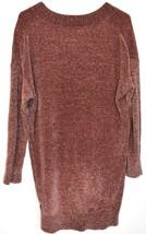 Express Women's Mauve Oversized Chenille V-Neck Knit Sweater Dress Size XS image 2