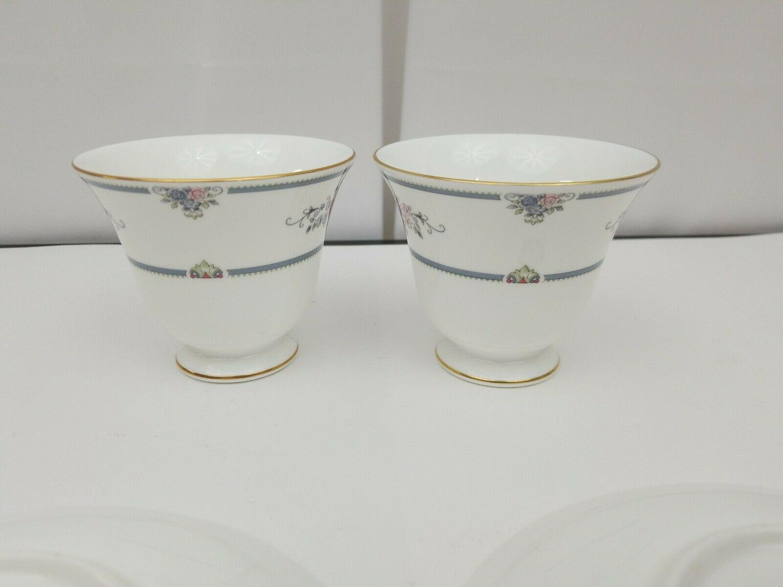 Wedgwood Bone China Cup & Saucer Set of 2 Charlotte White Gold Trim England 1991 image 9