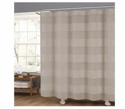 "New Taupe Fabric Shower Curtain: Wide Stripe Design, 70"" x 72"" - $19.79"
