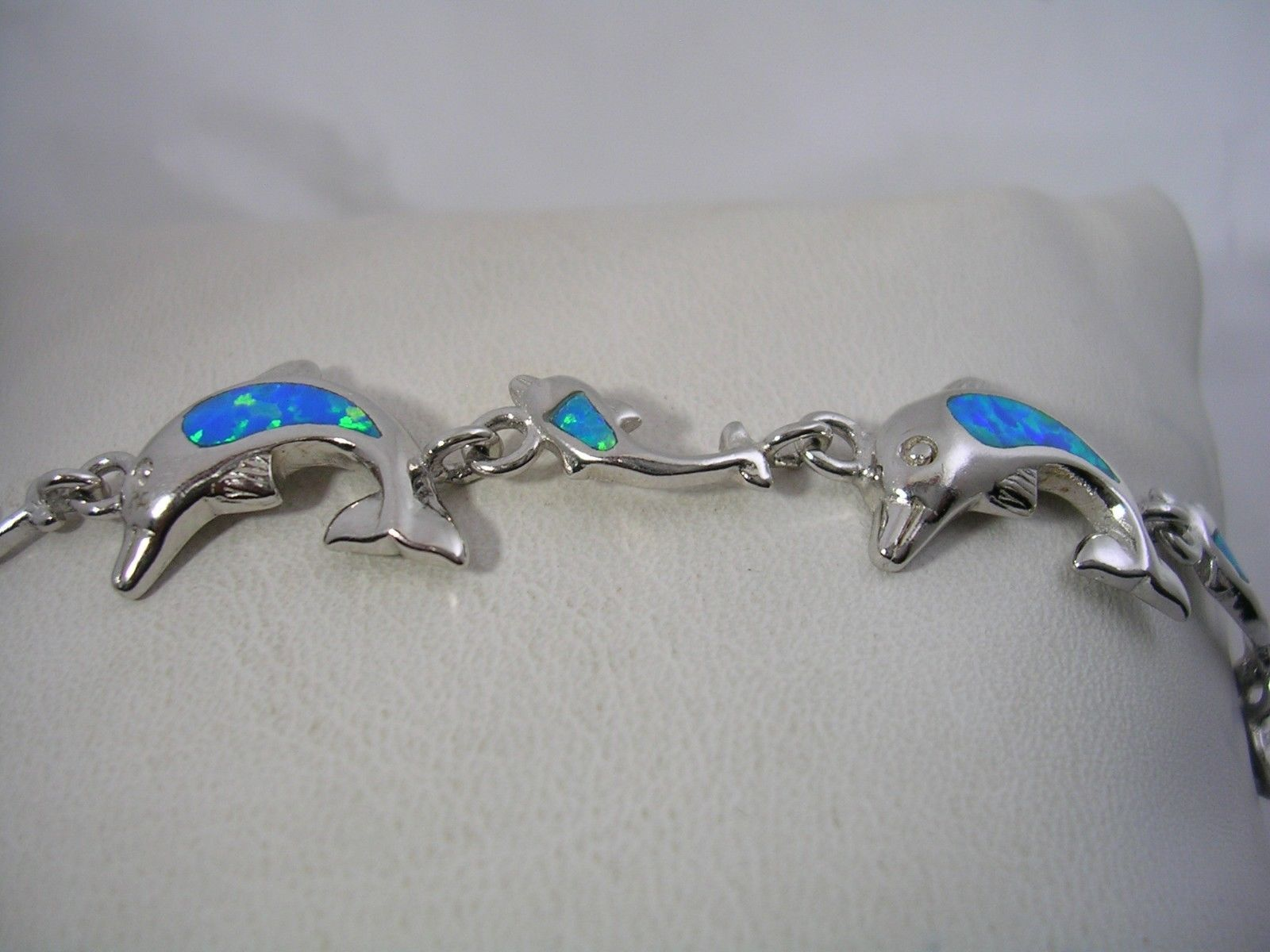 Primary image for DOLPHIN AND BABY DOLPHIN BRACELET WITH OPALS SET IN STERLING SILVER