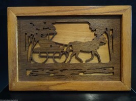 Vintage Horse & Carriage 3D Relief Wood Cut Out Dimensional Picture Wall... - $24.00