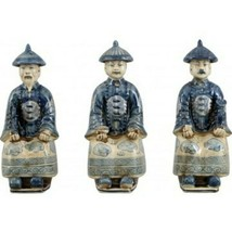 "Set of 3 Porcelain Royal Qing Sitting Chinese Figurines 4.75"" x 11"" - $148.00"