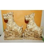 Vintage Composite Figural Scottie Dog Terrier Bookends Fence Collar Pupp... - $17.82