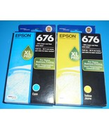 Genuine Epson 676 XL Pro Cyan & Yellow Ink Cartridges Lot 676XL [New] 12... - $18.69
