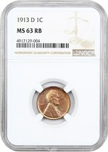 1913-D 1c NGC MS63 RB - Lincoln Cent - $276.45