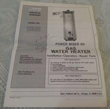 Vintage SEARS Power Miser 60 Gas Water Heater Owners Manual - $4.28