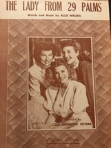 The Lady From 29 Palms Vintage Sheet Music Allie Wrubel The Andrews Sist... - $7.70