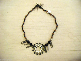 Re purposed tribal punk hand knotted necklace with metal garage artifacts gears image 3