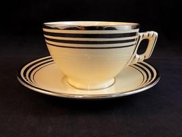 Vntg Leigh Ware Potters Astoria TEA CUP & SAUCER Cream clr w/ Silver Trim - $12.86