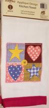 Patchwork Velour Kitchen Towel Applique Stars & Hearts Checks Dots Red