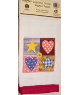 Patchwork Velour Kitchen Towel Applique Stars & Hearts Checks Dots Red - $4.99