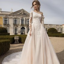 Luxury One Shoulder Mermaid Wedding Dress Detachable Train Long Sleeves Lace App image 1