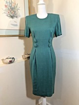 Talbots Steven Stolman Womens Dress Emerald Green Linen Blend S/S Sz 4 - $19.59