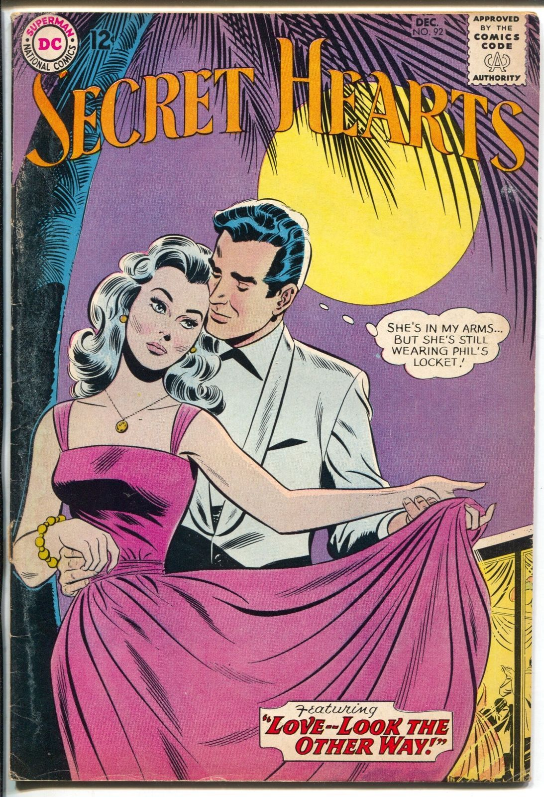 Secret Hearts #92 1963-DC-monnlight night cover-romance-VG+