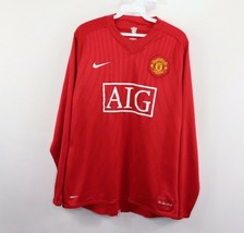 Vintage Nike Mens Large Manchester United FC AIG Long Sleeve Soccer Jersey Red - $44.50