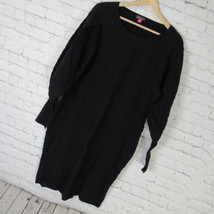 Vince Camuto Sweater Dress Womens XL Black Balloon Sleeve Jacquard D61 - $46.52