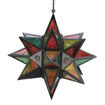Lantern Glass, Decorative Large Star Lantern With Glass Outdoor - $41.63
