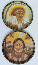 Vintage set of 2 INDIAN HEAD Metal Serving Trays / Wall Decor - Tino W. ... - $18.56