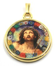 "MURANO GLASS ROUND MEDAL PENDANT, JESUS FACE, 25mm 1"" FLOWER FRAME GOLD LEAF image 1"