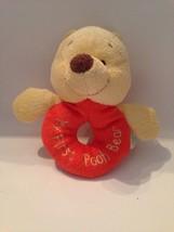WALT DISNEY My First Pooh Bear,Piglet, Eeyore Ring Soft Rattle Set Plush Stuffed - $17.77
