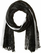 Steve Madden Metallic Stripe Fringe Scarf Wrap, Black Silver Pewter - $17.82
