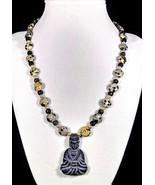 "18"" Buddha stone pendant, genuine jasper & pearl necklace - $110.00"