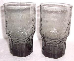 Vintage 1960's Anchor Hocking Lido Sereno Gray Color Glass Tumblers - $18.99